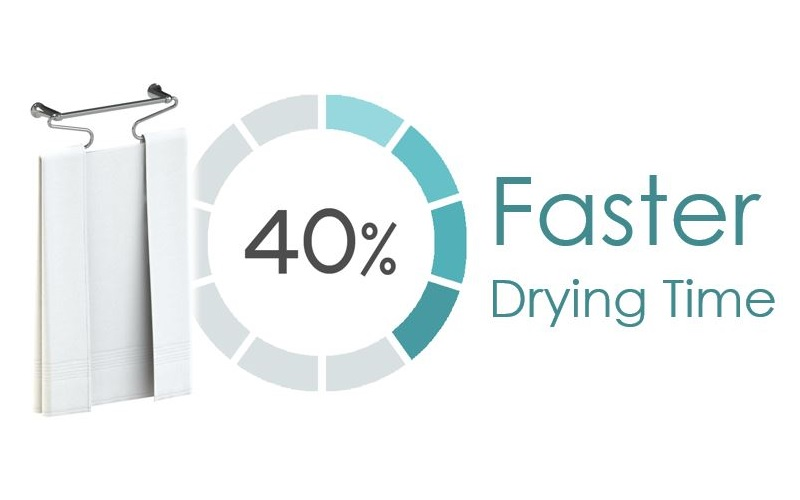 Isometric view of a towel hanging on Airfold with a '40% faster drying' badge