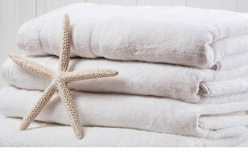 Clean set of towels with a coral starfish in front